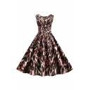 Unique Womens Leopard Print Pleated Zip Front Buckle Belted Sleeveless Crew Neck Midi Swing Dress in Khaki