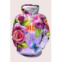 Fancy Fuirt Floral 3D Print Drawstring Long Sleeve Relaxed Fit Hooded Sweatshirt