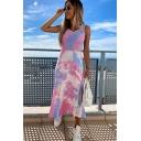 Chic Ladies Tie Dye Printed Slit Side Sleeveless V Neck Long Tank Dress
