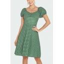 Trendy Womens Checker Polka Dots Printed Pleated Short Puff Sleeve Square Neck Mini A-Line Dress