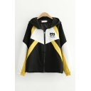 Womens Leisure Letter Hero Graphic Contrasted Long Sleeve Hooded Zipper Front Relaxed Fit Jacket