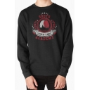 Simple Letter Shoto Academy Graphic Long Sleeve Crew Neck Relaxed Pullover Sweatshirt for Men
