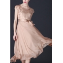 Elegant Womens Embossing Short Sleeve Sweetheart Neck Bow Tied Waist Maxi Pleated A-line Dress