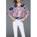 Popular Womens Stripe Butterfly Pattern Long Sleeve Spread Collar Button-up Relaxed Fit Shirt Top in Pink