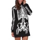 Black Cool Street Long Sleeve Zipper Up Skull Skeleton Print Longline Loose Fit Hoodie