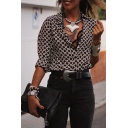 Sexy Womens Color Blpck Geometric Print 3/4 Rolled Edge Sleeve V Neck Regular Fit Shirt in Black
