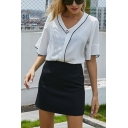Chic Womens Contrast Piping Single Button V Neck Flare Cuff Half Sleeve Loose Blouse Top in White