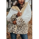 Trendy Leopard Printed Sherpa Long Sleeve Lapel Neck Relaxed Fit Thick Jacket for Women