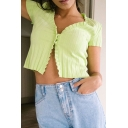 Simple Womens Green Knit Short Sleeve V-neck Button Detail Stringy Selvedge Regular Fit Crop T Shirt