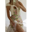 Fancy All Over Floral Printed Spaghetti Straps Bow Panel Short A-line Slip Dress in Yellow