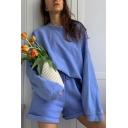 Chic Girls Solid Color Long Sleeve Crew Neck Loose T Shirt & Rolled Cuffs Relaxed Shorts Set in Blue