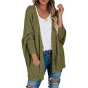 Popular Solid Color Open Front Pocket Long Sleeve Oversized Tunic Knit Cardigan Sweater Coat for Women