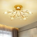 Simple Leaf Semi Flush Mount Light Crystal 5/8-Light Corridor Close to Ceiling Lighting in Gold with Sputnik Design