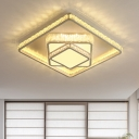 Simple LED Ceiling Light Fixture White Square Flush Mount with Beveled Crystal Shade for Bedroom