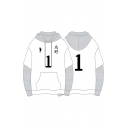 Unique Number Footprint Graphic Contrasted Patched Long Sleeve Drawstring Pouch Pocket Loose Hoodie in White