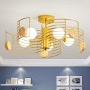 Metal Arc Frame Semi Flush Mount Simplicity Pink/Gold LED Close to Ceiling Lighting Fixture