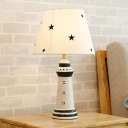 Resin Lighthouse Night Table Lamp Simplicity 1-Light Task Lighting with Barrel Fabric Shade in White