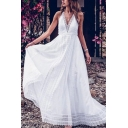 Pretty Ladies Lace Patched Spaghetti Straps V-neck Open Back Maxi Flowy Tank Dress in White