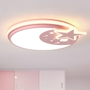 Acrylic Moon and Star Flush Mount Macaron Style LED Ceiling Light Fixture in White/Pink/Blue for Bedroom