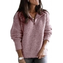Ladies Stylish Lapel Collar Half-Zip Long Sleeve Loose Sherpa Pullover Sweatshirt with Pocket