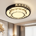 Round/Square Tiers Thin LED Ceiling Flush Modernism White Crystal Embedded Flush Mount Light