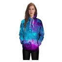 Unisex Galaxy 3D Printed Long Sleeve Color Block Hoodie Sweatshirt