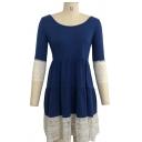 Scoop Neck 3/4 Length Sleeve Color Block Lace Patchwork T-shirt Dress