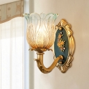 1/2 Light Ribbed Glass Wall Mount Light Vintage Gold Flower Shade Living Room Wall Lamp