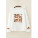 Kawaii Bear Heart Paw Printed Stringy Selvedge Patched Bows Long Sleeve Crew Neck Loose Fit Pullover Sweatshirt in White