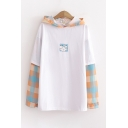 Pretty Cat Plaid Printed Patched Long Sleeve Loose Fit Hoodie