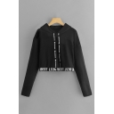 Stylish Letter Best Printed Long Sleeve Drawstring Relaxed Crop Hoodie