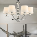 Fabric White Suspension Light Tapered Shade 6/8 Bulbs Minimalist Chandelier with Crystal Accent, 26.5