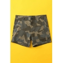 Stylish Relax Shorts Camo Pattern Zipper Button Pocket Rolled Edge Mid Thigh Regular Fitted Mid Rise Relax Shorts for Men