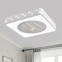 LED Box Flush Mount Ceiling Fan Modern White Iron Semi Flush Light with Inserted Crystal, 21.5