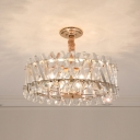 Clear Glass Rods Drum Chandelier Lamp with Tri-Sides Design Modern 6 Lights Ceiling Suspension Lamp for Sitting Room