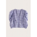 Novelty Womens Plaid Pleated Button V Neck Long Puff Sleeve Slim Fit Blouse in Purple