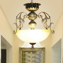 3 Lights Ceiling Pendant Traditional Bowl Ivory Glass Hanging Lamp with Scroll Arm in Bronze
