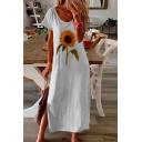 Leisure Sunflower Printed Split Side Scoop Neck Long Sleeve Oversized Maxi T Shirt Dress for Women