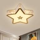 Crystal Star Flush Mount Ceiling Light Simple Bedroom LED Flushmount Lighting in Gold