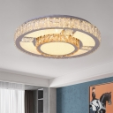 Circle LED Close to Ceiling Lighting Contemporary Faceted Glass Dining Room Flush Mount Light in Stainless-Steel