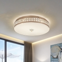 Champagne Round Flushmount Lighting Contemporary LED Crystal Ceiling Mounted Light for Bedroom, 15.5