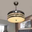Drum 3 Blades Down Lighting Pendant Modern Faceted Crystal LED Nickel Suspended Lighting Fixture, 42