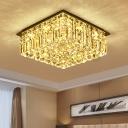 Clear K9 Crystal Square Ceiling Flush Modernist Bedroom LED Flush Mount Lighting Fixture