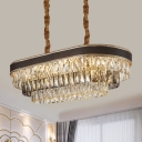 10-Bulb Clear Beveled Crystal Pendant Modern Black 3-Layer Oblong Kitchen Island Lighting