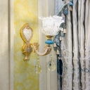 Modern Flower Wall Mounted Light Clear Crystal 1/2-Head Wall Sconce in Gold with Droplet for Corridor
