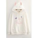 Girls Fancy Rabbit Embroidery Long Sleeve Drawstring Kangaroo Pocket Relaxed Fit Hoodie