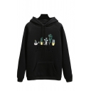 Popular Letter Family Picture Cactus Graphic Kangaroo Pocket Long Sleeve Drawstring Relaxed Hoodie