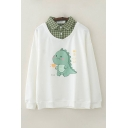 Lovely Girls Japanese Letter Dinosaur Graphic Long Sleeve Plaid Printed Polo Collar Fake Two Piece Relaxed Sweatshirt