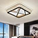 Bevel Cut Glass Geometric Ceiling Mounted Light Contemporary LED White Flush Mount Lighting for Bedroom