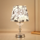 Silver Tapered Nightstand Light Rural Fabric 1 Light Bedroom Night Light with Petal Pattern